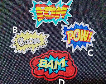 Punk Patch Boom Pow Bam Embroidered Applique Iron on Patch (AL)