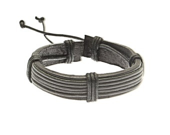 Black Leather Strap Bracelet With Banded Leather Detail - 256