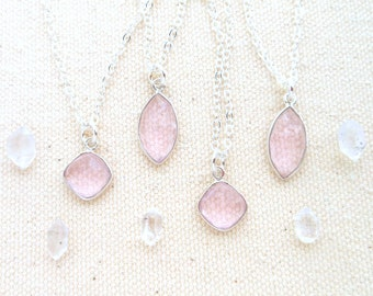 Rose quartz necklace mothers day gift for her sterling silver chain rose quartz pendant rose quartz crystal jewelry