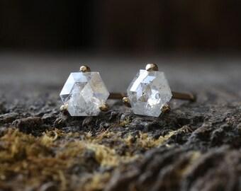 Natural Rose Cut Hexagon Diamond Stud Earrings