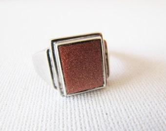 Vintage Men's Sterling Silver Sunstone Ring, Chunky Men's Silver Ring with Natural Stone, Vintage Rings for Men, Gifts for Him