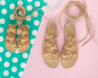 Mommy & Me Greek Summer Leather Gladiator Sandals-Children and Adult Leather Wrap Up Laces Gold Studded detail