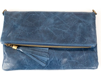 Leather Distressed Clutch With Tassel Detail - Various Colours