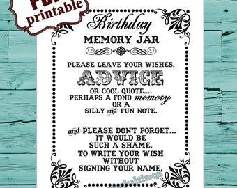 INSTANT DOWNLOAD- 8 x 10 Birthday Memory / Wish Jar---Printable PDF File