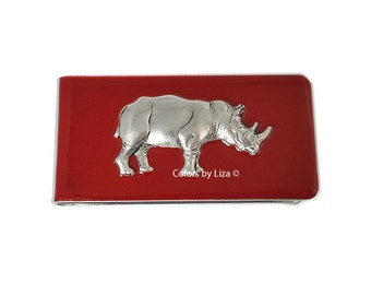 Rhinoceros Money Clip Inlaid in Hand Painted Red Opaque Glossy Enamel Finish Custom Colors and Personalized Options