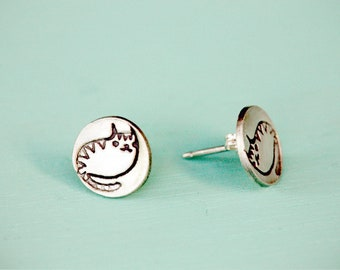 CAT EARRINGS cat stud earrings, silver cat earrings - sterling silver cat stud earrings, tiny stud earrings - tiny cat stud earrings