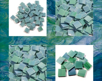 Viridian Blue Green Square Stained Glass Mosaic Tiles Opal Hand Cut Spectrum