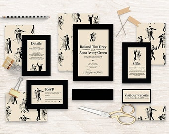 "Printable Wedding Invitation Suite ""The Masked Ball"" - Printable DIY Invite, Affordable Wedding Invitation"