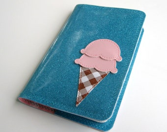 Strawberry Scoops - Vinyl Journal Cover with appliqued ice cream cone on turquoise blue sparkle vinyl / pink polka dot oilcloth, MEDIUM 1 fits pocket size Moleskine cahier journal