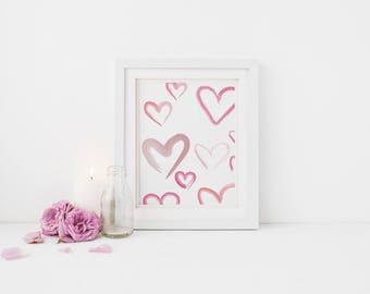 Watercolour Pink Hearts Wall Print - Wall Art, Bedroom Print, Minimalist Print, Personal Print, Home Decor, Children Print,