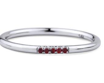 14k White Gold Garnet Ring, White Gold Garnet Engagement Ring, Stackable Birthstone Ring with garnet, White Gold Midi Ring