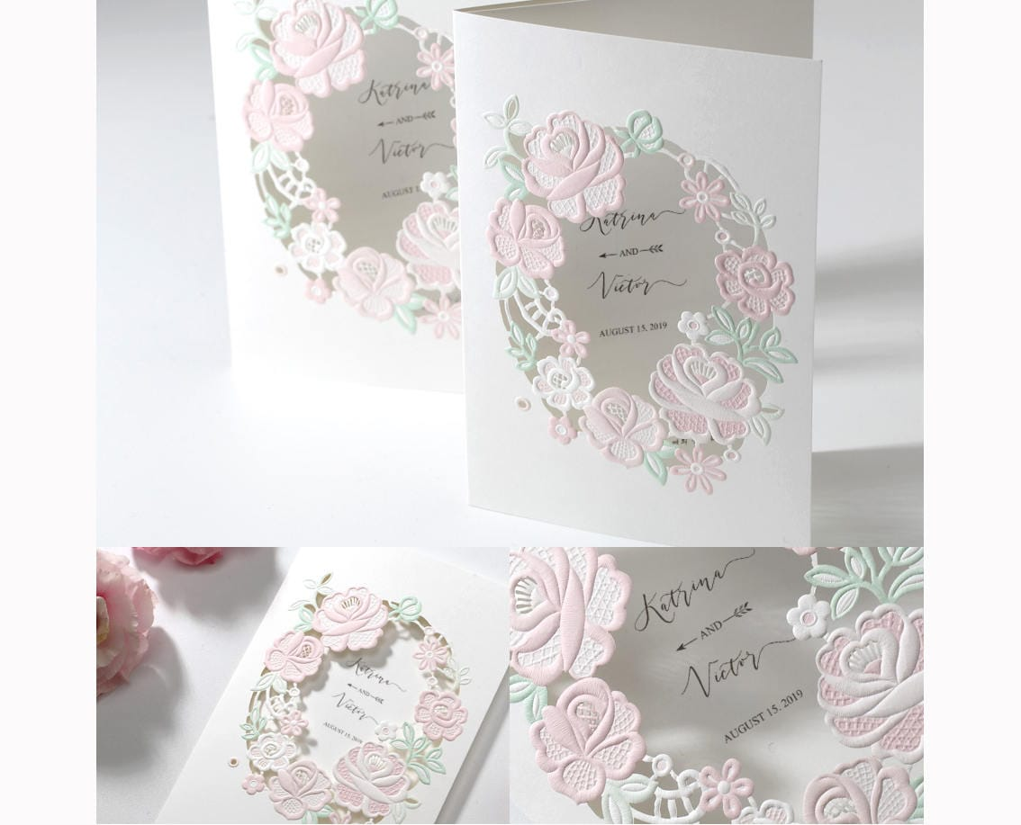 Peach Pinwheel Pink wedding invitations Laser cut n Embossed Rose ...