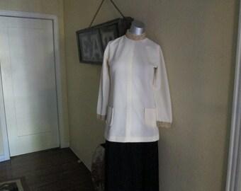 Vintage Women Nehru Tunic White Gold  / Gold Braid Off White Long Blouse S / M