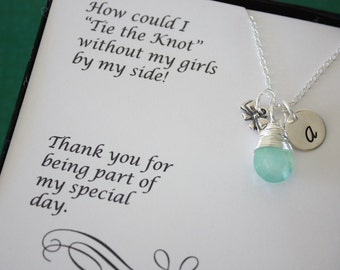 6 Tie the knot Bridesmaid Gifts, Tie the Knot Necklaces, Bow Charm, Bridesmaid Necklace,Tiny Bow, Silver Bow, Initial jewelry, Card