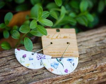 NEW Porcelain Dangle Earrings - Wildflower Ceramic Hoop - ALKIMI - Surgical Steel Kidney Hooks earrings Hypoallergenic Statement Earrings