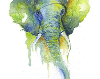 Memory - Elephant, Large Animal, African Animal, Smart, Sahara Wildlife, Watercolor Painting Available in Paper and Canvas by Olga Cuttell