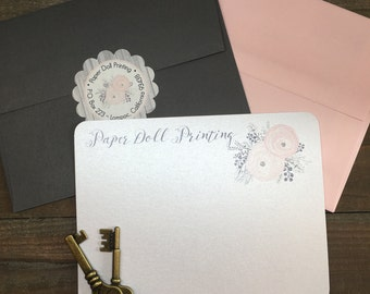 Note Cards - Floral - Personalized Note Cards - Flat or Folded - 4.25x5.5 inches