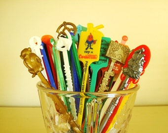 Swizzle stick grab bag, 50 vintage cocktail stir sticks, travel souvenirs, gifts for guys, drink stirrers as seen in Country Living magazine