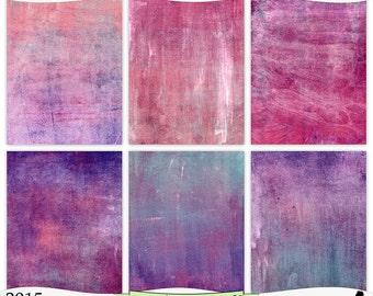 Pink, Peach, Purple and Mint Digital Background Prints Instant Download Set of 6 - 8.5 x 11 inch Printable Papers  JPEG & PDF (2015)