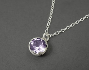 Amethyst on Sterling Silver Lace Necklace