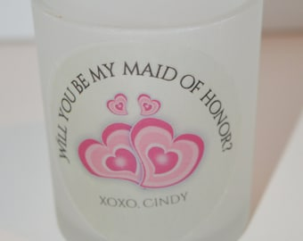 Will you be my Maid of Honor, Maid of Honor Candle, bridesmaid gift, Personalized candle, Bridesmaid Gift, Will you be my bridesmaid, Candle