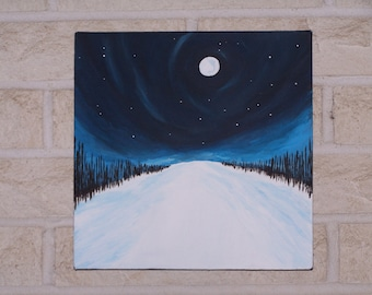 10x10 Acrylic Painting Wrapped Canvas of Snowy Landscape, Moon, and Stars