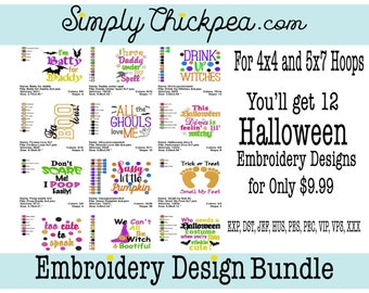 Embroidery Deigns - Halloween Embroidery Design Bundle - Includes Appliqués - For 4x4 and 5x7 Hoops