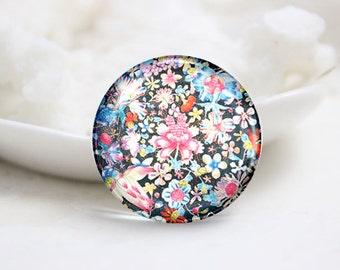Handmade Round Photo glass Dome-Flower (P2960)
