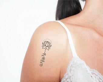3 lotus unalome temporary tattoos