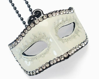 50 Shades of Grey Inspired Trilogy Darker White Crystal Mask Charm Necklace