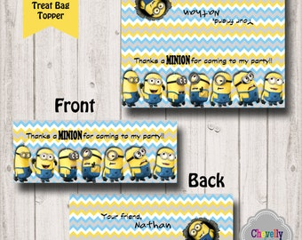 Minion Bag Toppers - Personalized - BT013 - printable, favor bag toppers, goodie bag toppers, treat bag topper