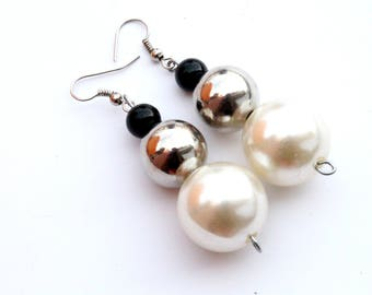 Black silver white dangle earrings Long silver white earrings Elegant white pearls earrings Elegant earrings Unique earrings Gift for her