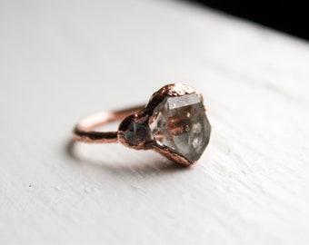Size 5 Herkimer Diamond Ring, Herkimer Diamond, Copper Electroformed, Handmade