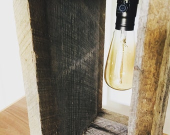 Rustic Edison Bulb Lamp, Home Decor, Barn wood, Handcrafted
