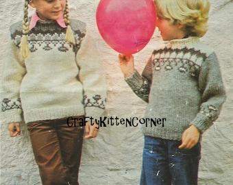 Vintage Children's Icelandic Fair Isle Yoke Sweaters Knitting PDG Pattern