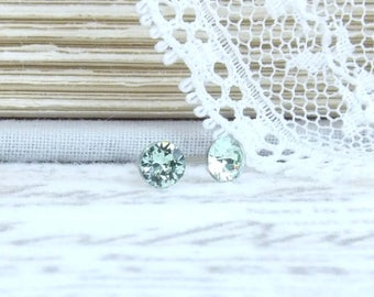 Tiny Green Studs 4mm Earrings Green Crystal Studs Small Stud Earrings Swarovski Studs Surgical Steel Studs