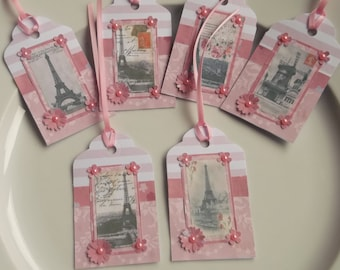Paris gift tags, Eiffel Tower gift tags, gift labels, handmade gift tags, flower gift tags, party gift tags, favour tags, gift wrap tags