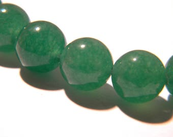 10 pearls natural 10 mm jade gemstone - green - gemstone - Pearl jade - natural gemstones - G105-3