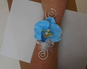 Flowers for bride or witness - turquoise and silver bracelet