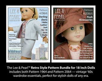 L&P Darling Doris and Posh Accessories Retro Style PATTERN BUNDLE for 18 Inch Dolls, includes 1960s Ladies' Suit, Hat, Gloves and Jewelry