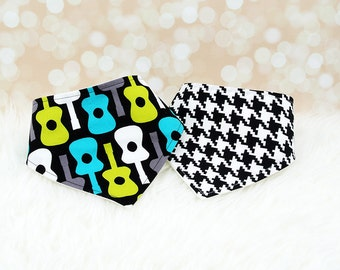 Baby Bandana Bibs - Black Guitars and Black Houndstooth - Set of 2 baby bibs (or choose your own fabric)