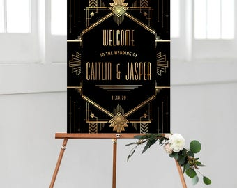 gatsby wedding welcome sign, printable welcome sign, art deco wedding, gatsby theme wedding, wedding printable, custom sign, reception