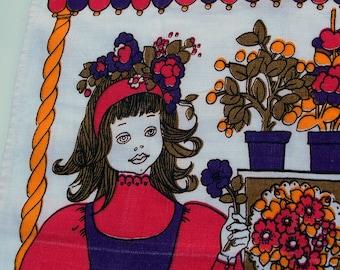 Vintage Kitsch Tea Towel - Florist Design - Pink and Purple - 70s Psychedelic Tea Towel - Pamela Kay