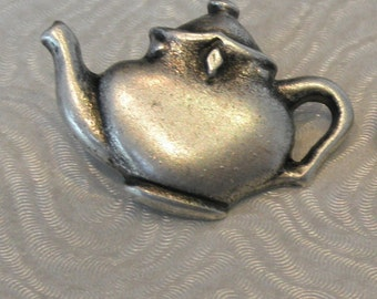 2 25x18mm Silver Tone Teapot Metal Shank Buttons