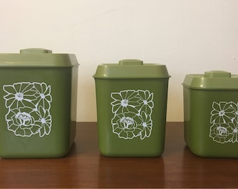 Vintage 70s Green Floral Canisters