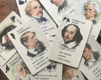 Vintage Authors Cards - Set of 11 - Altered Art, Vintage Paper Ephemera, Junk Journal, Children's Playing Cards, Scrapbooking, Vintage Cards