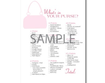 Pink Baby Girl Shower Game: What's in Your Purse?