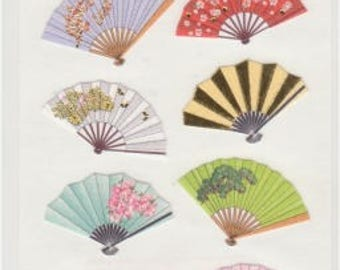 Japanese Stickers - Washi Fan Stickers - Gold Trim - Reference A5846