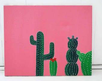 Cute Cactus Acrylic Canvas Painting