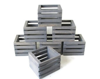 Wood Crate - Rustic Wedding Decor - Wooden Mason Jar Crates - Set of 7
